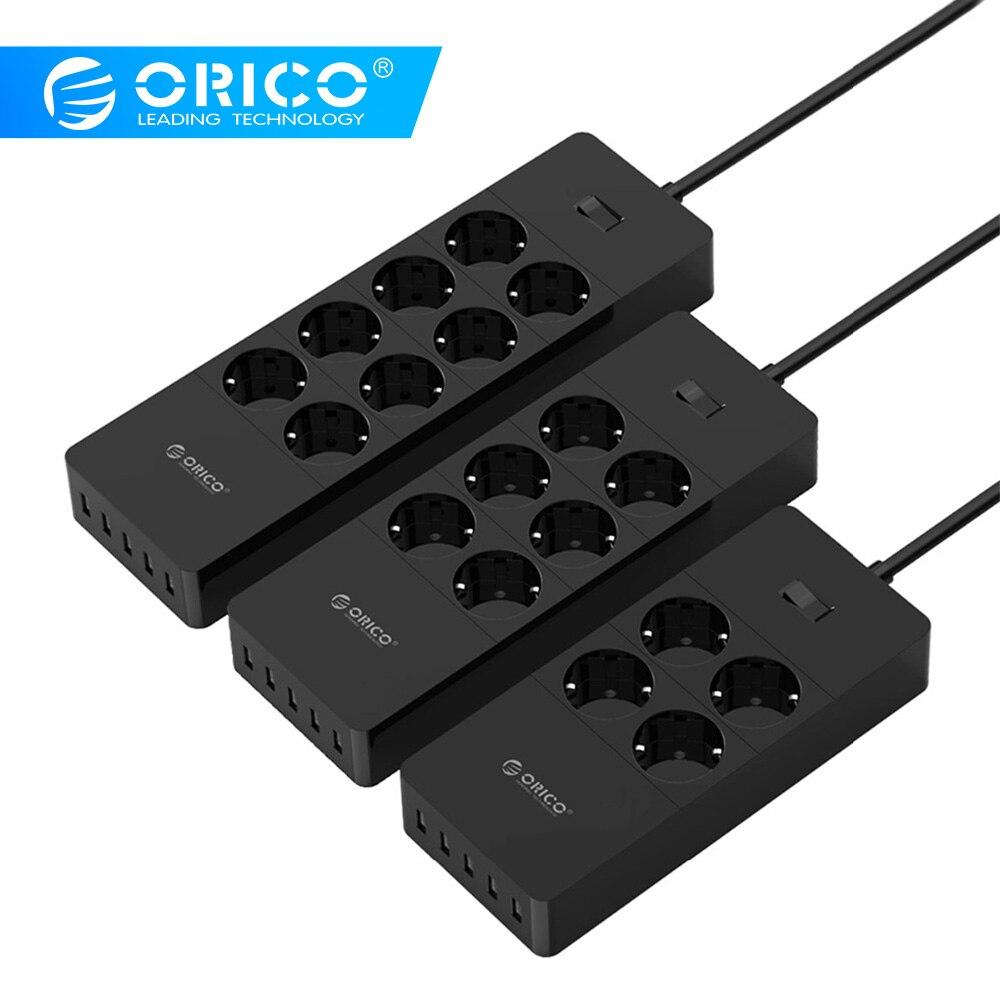 ORICO Extensão Soquete Elétrico Plug UE Tomada Tira Tomada Protetor Contra Surtos de Energia DA UE com 5x2. 4A Portas Carregador USB Super
