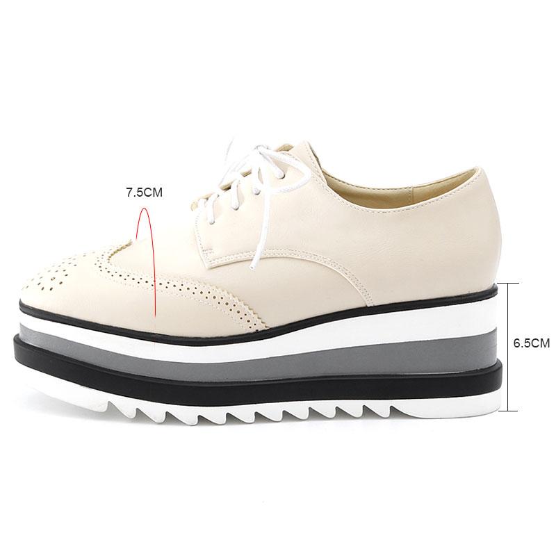 Plat Plate up Dentelle Beige Mode Haute Dernière Style Britannique Casual Vintage Daitifen Qualité white Chaussures Cuir Pu Femmes forme Dames black w0fanPnUq