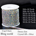 10 Yards Densify Rhinestone Crystal AB Cup Chain With Strass Bright For Clothes Wedding Dress And DIY Desig 7 Sizes Available
