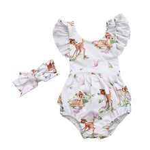 Newborn Toddler Infant Baby Girls Deer Romper Bodysuit Jumpsuit Clothes Outfits