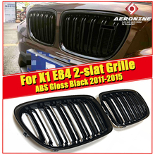 1 Pair X1 E84 Auto Car Front Bumper Grill Grille For BMW X Series Double 2 Line Slats ABS Gloss Black M Style Kidney 15-