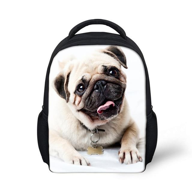 Animal Pet Pug Dog Print Children Backpack Kids Girls School Backpack  Canvas Fashion Rucksack Casual Backpack For Kindergarten