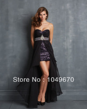 Neue Mode 2013 Schatz High Low Stil Abendkleid Kristall Chiffon Pailletten Party Kleider N331