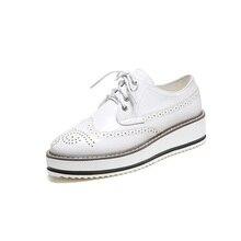ขนาดบวก34-43 B Rogueแพลตฟอร์มOxfordรองเท้าสำหรับผู้หญิงสไตล์วินเทจอังกฤษแฟลตลูกไม้ขึ้นหญิงO Xfordsสุภาพสตรีรองเท้าลำลอง