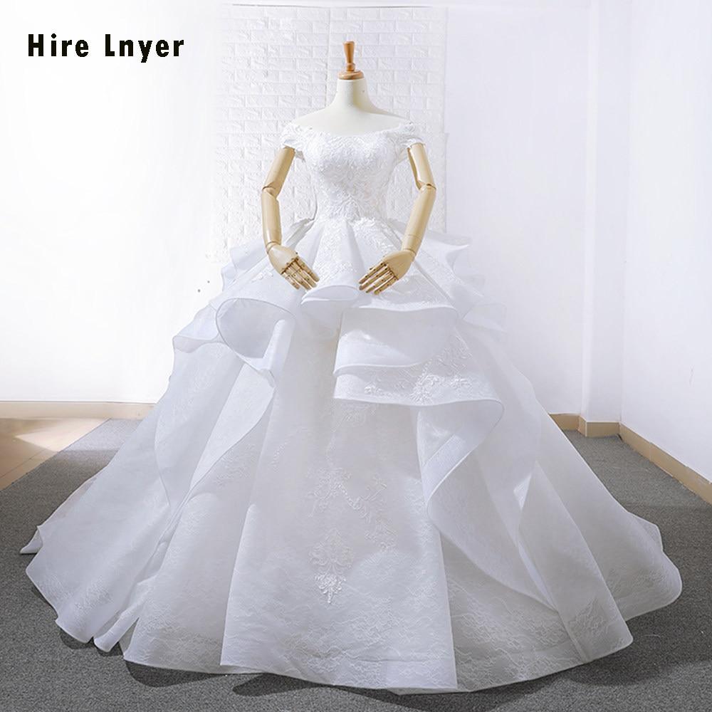 HIRE LNYER Short Sleeve Appliques Lace Gorgeous Princess Ball Gown Wedding  Dresses Plus Size 2019 Vestido 4da21c6ef1be