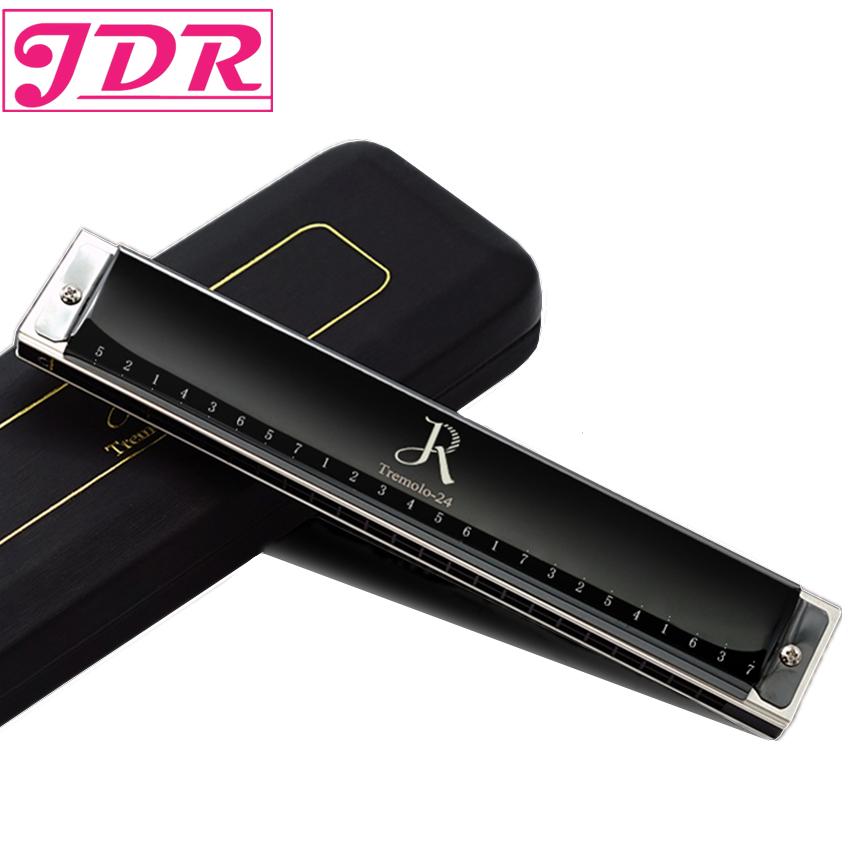JDR 24 Tone Holes Tremolo Harmonica C Key Reed Harp Mouth Organ Musical Instruments keychain Harmonica Accessory with Case