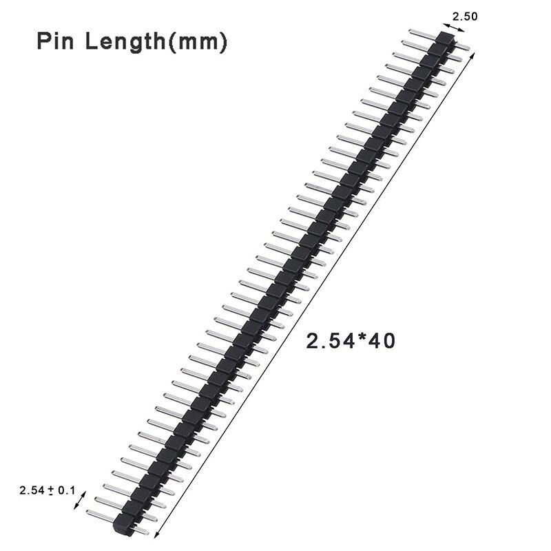 מזגנים 10pcs Single Row לוח מחשבי פין זכר הכותרת Arduino 1x40 2.54 שבירים 40 פיני רצועת PCB אלקטרוני הערכה DIY (2)