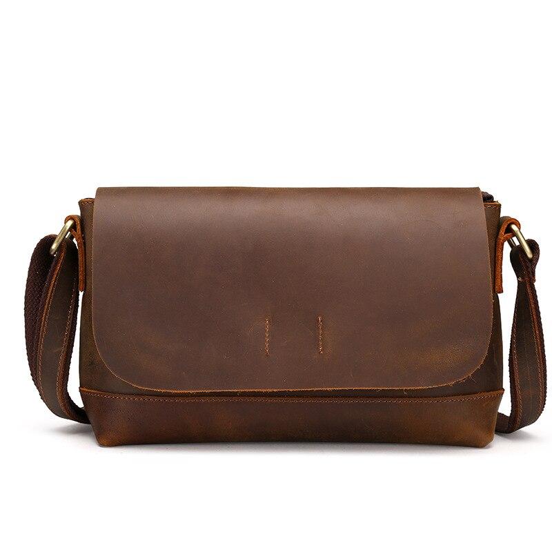 Vintage Style Genuine Cowhide Leather Crossbody Shoulder Sling Bag Little Handbag Briefcase Pouch For Male Man LS8896