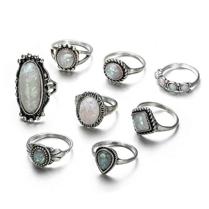 100% Kwaliteit Bohemian Vintage 8 Stks Boho Opal Stone Finger Boven Knuckle Band Midi Ringen Stapelen Ring Set