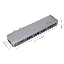 7-in-1 Multiport Hub Dual USB-C 4K Video Card Reader for MacBook Pro
