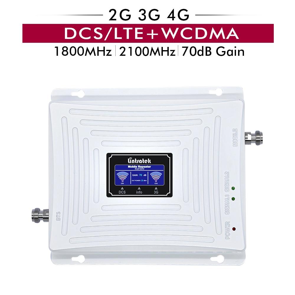 70dB Gain 20dBm Bande 3 DCS/LTE 1800 mhz + Bande 1 WCDMA 2100 mhz Mobile Phone Signal Booster double Bande Cellulaire Répéteur Amplificateur