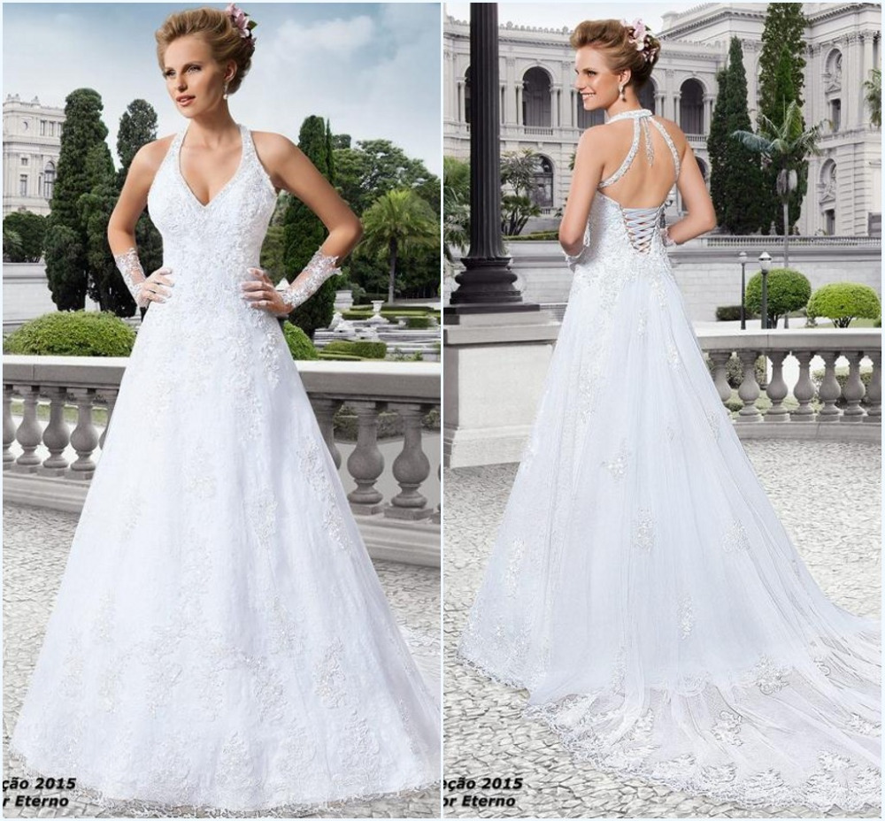 Sexy v neck appliques lace a line backless mermaid wedding for Lace v neck backless wedding dress