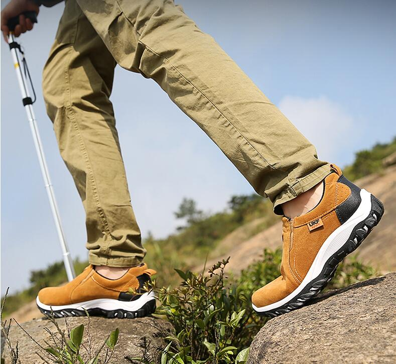 Four Season  PU Non-slip Men Outdoor Sneakers Breathable Hiking Shoes Slip-on Terkking Climbing Mountain Travel Sport Shoes