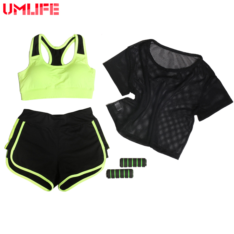 UMLIFE Üç Parça Qadın Yoga Kostyum Mesh T-shirt + Yoga Bra + - İdman geyimləri və aksesuarları - Fotoqrafiya 1