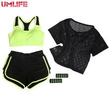UMLIFE Three Piece Set Women Yoga Suit Mesh T-shirts+Yoga Bra+Sports Shorts Outdoor Fitness Running Clothes Push Up Yoga Set