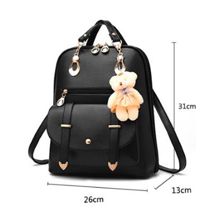 HTB1Qqb0Df5TBuNjSspmq6yDRVXaN Preppy Style Women Backpack Bear Toys PU Leather Schoolbags for Teenage Girls Female Rucksack Shoulder Bag Travel Knapsack