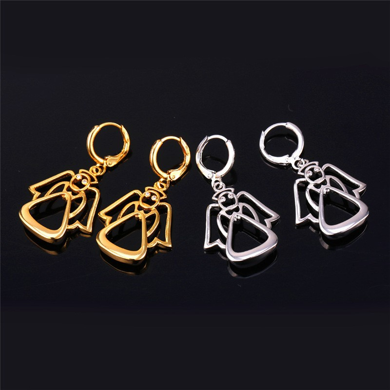 Collare Crystal Guardian Angel Earrings For Women Gold/Silver Color Wholesale Lovely Drop Earrings Fashion Jewelry E258