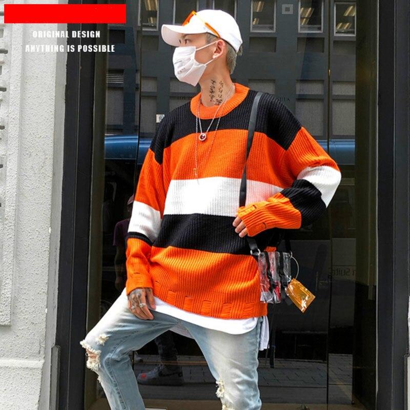 Original Chic Marke Männer Herbst Und Winter Neue Produkte High Street Farbe Passenden Gestreiften Lose Pullover Männer Pullover Gute Begleiter FüR Kinder Sowie Erwachsene
