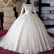 060cbd4f3cda9 Lüks Prenses Kabarık Uzun Kollu Tül Dantel Boncuk Sequins Gelinlik 2019  mariage Yeni Gelinlikler Custom Made