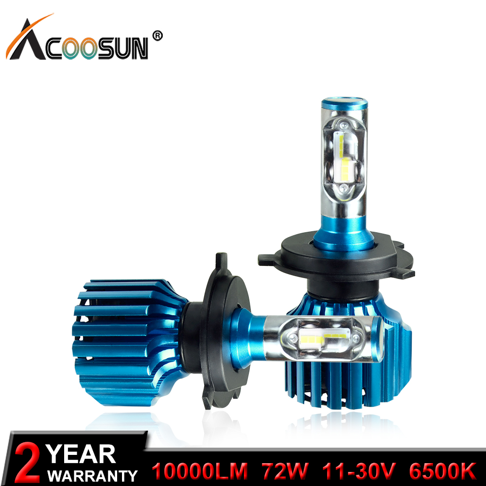 AcooSun H4 H7 Led H11 9005 9006 H3 Car LED Headlight Bulbs 72W 10000LM Flip LED Chips Automible Headlamp Front Lights 6500K 12V