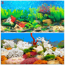 Nice 30 40 50 60CM High Aquarium Background Poster LIVE Double Sided Fish Tank Ocean Backdrop Wall Picture Decoration Glossy(China)