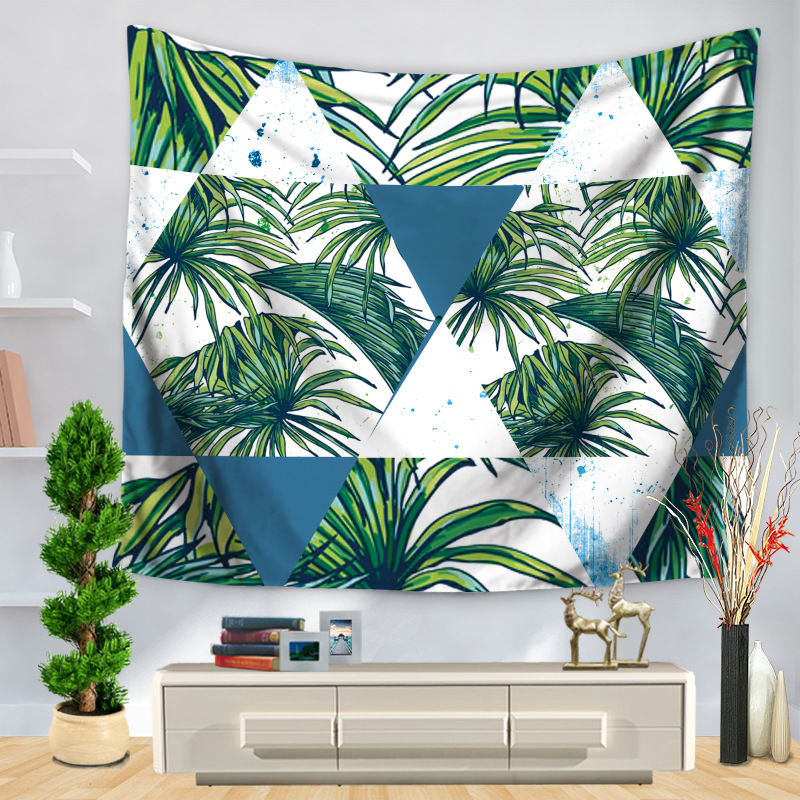 Instagram Hot Green Leaf Printed Tapestry Geometric Green Leaf Splicing Home Docoration  ...