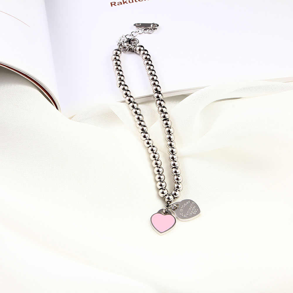 charms heart bracelet& bangles beads femme gifts for women female stainless steel jewelry braslet silver gift