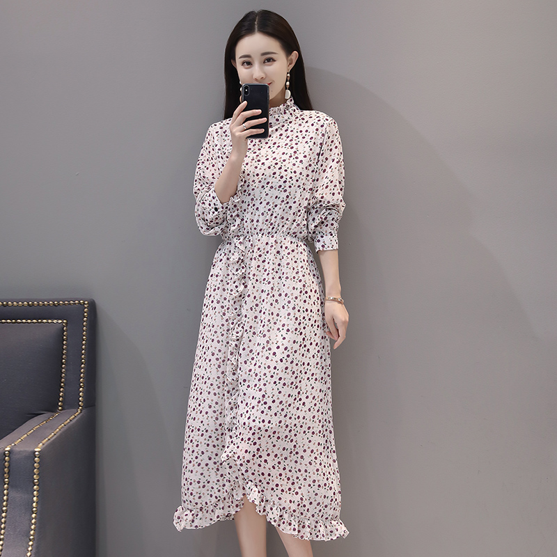 2018 New Spring Fashion Small Black Agaric Split Lotus Leaf Dresses Orange White Blue Color 906