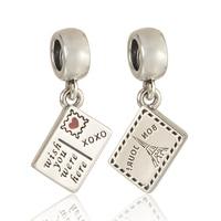 Pandulaso Bon Jour Wish You Were Here Postcard Red Heart Charms Fit Silver 925 Bracelets Women DIY Sterling-Silver-Jewelry Gifts