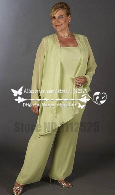 Amp1119 Grandma Of The Bride Pants Suit With Jacket Plus Size Outfit For Mother 24w 26w
