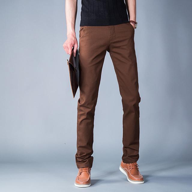 Envío Libre marrón ocio de los Hombres Pantalones de 2016 Del Otoño Del Resorte pantalones Ocasionales Rectos de Los Hombres Pantalones de La Manera Pantalones Tamaño 28-38