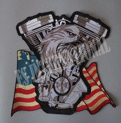 العلم الأمريكي النسر محرك التوأم 11.4 بوصة بقع التطريز ل سترة عودة الصدرية نادي الدراجات النارية السائق 27.5 سنتيمتر * 29 سنتيمتر