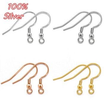 2pair Real 925 Sterling Silver Beads Ear Hook Accessories Ladies Earrings Plated Gold DIY Wholesale