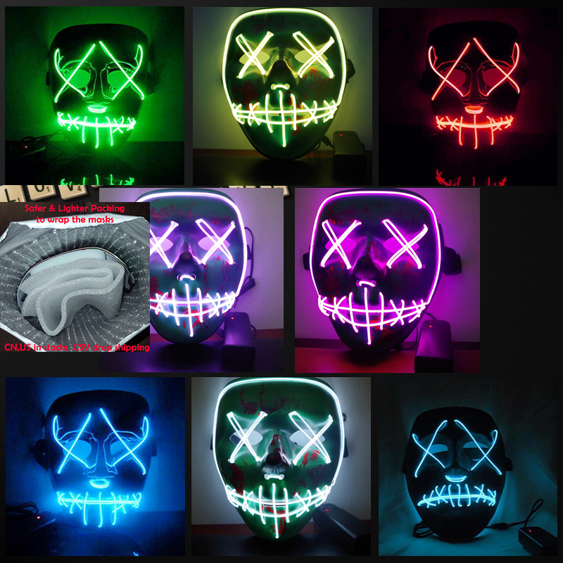 Halloween Mask LED Light Up Funny Masks The Purge Election Year Great Festival Cosplay Costume Supplies Party Masks Glow In Dark hellboy cosplay mask halloween helmets for kids carnival party masks