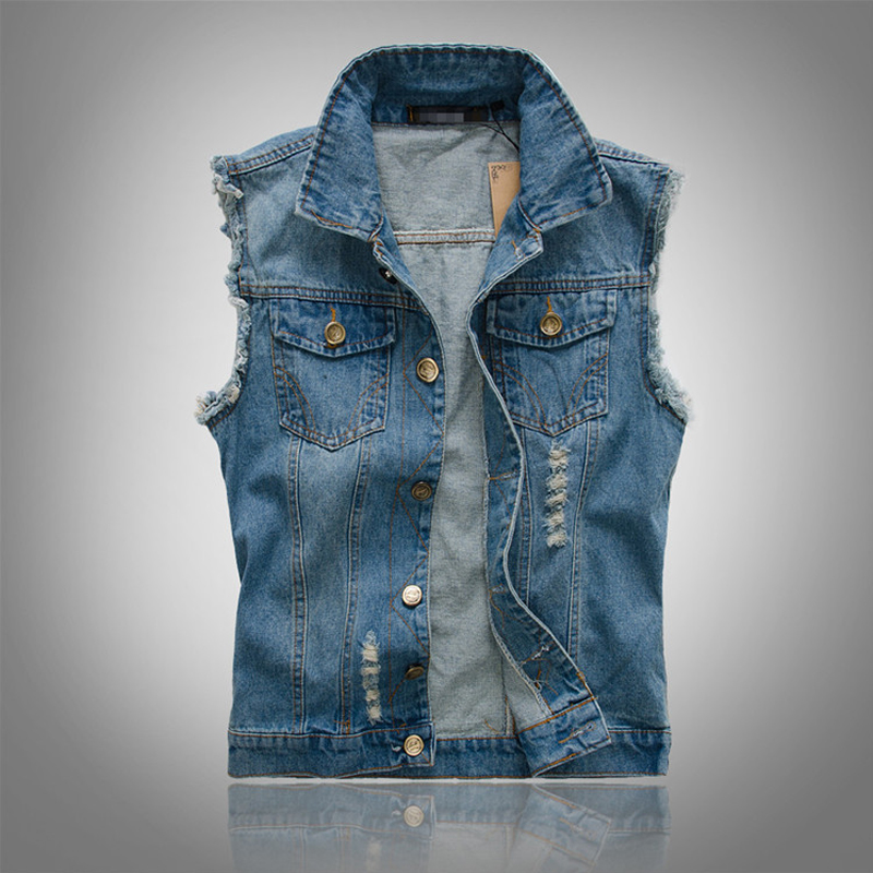 New Spring Autumn 2018 Vintage Classic Design Casual Denim Vest Men Blue 3 Colors Plus Asian size M-4XL 5XL 6XL