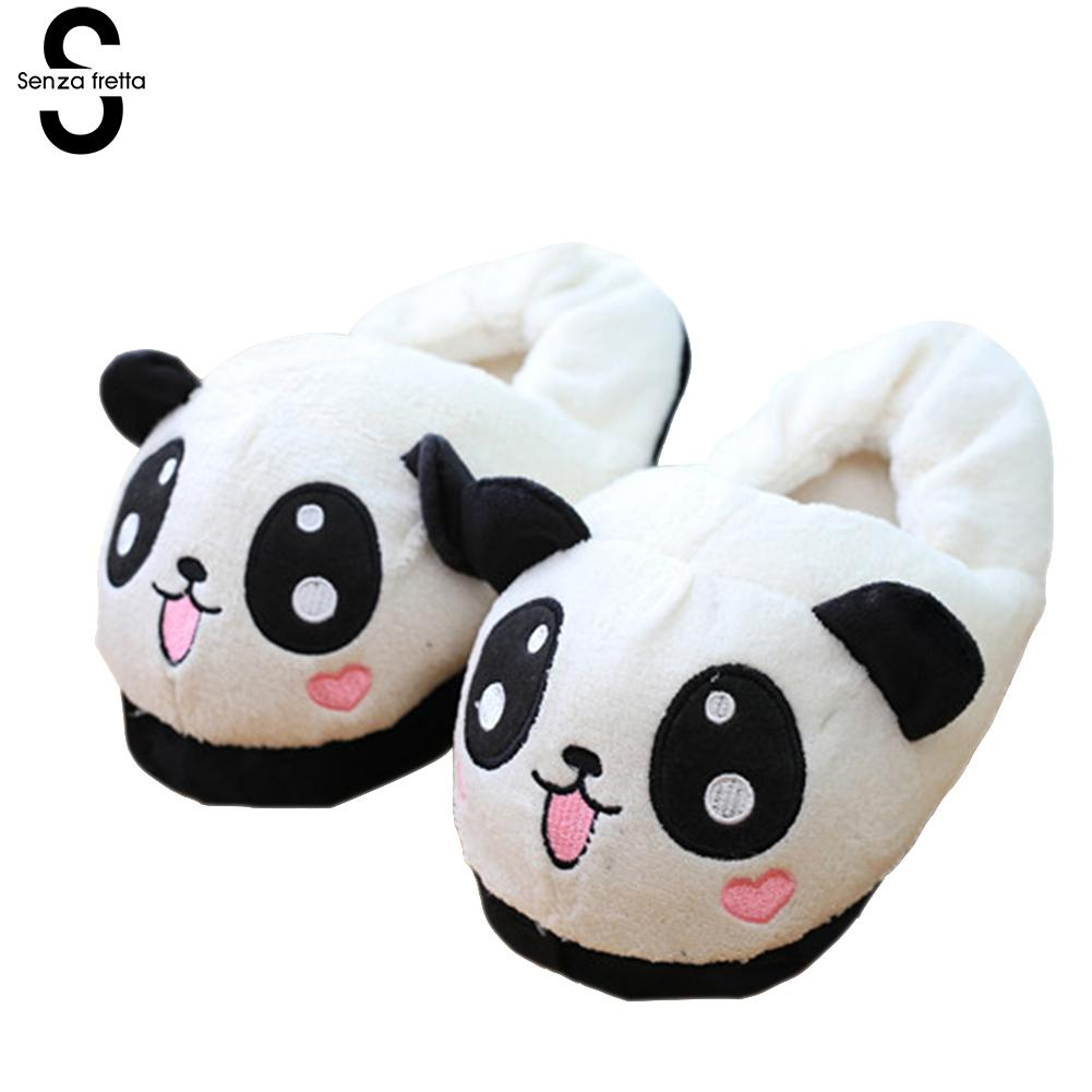 Senza Fretta Winter Warm Women Slippers Panda Plush Home Slippers Soft Bottom Non-slip Cotton Slippers Shoes Free Size 35-38 senza fretta women shoes new summer pvc slippers couples women anti slip home slippers indoor soft bottom women slippers