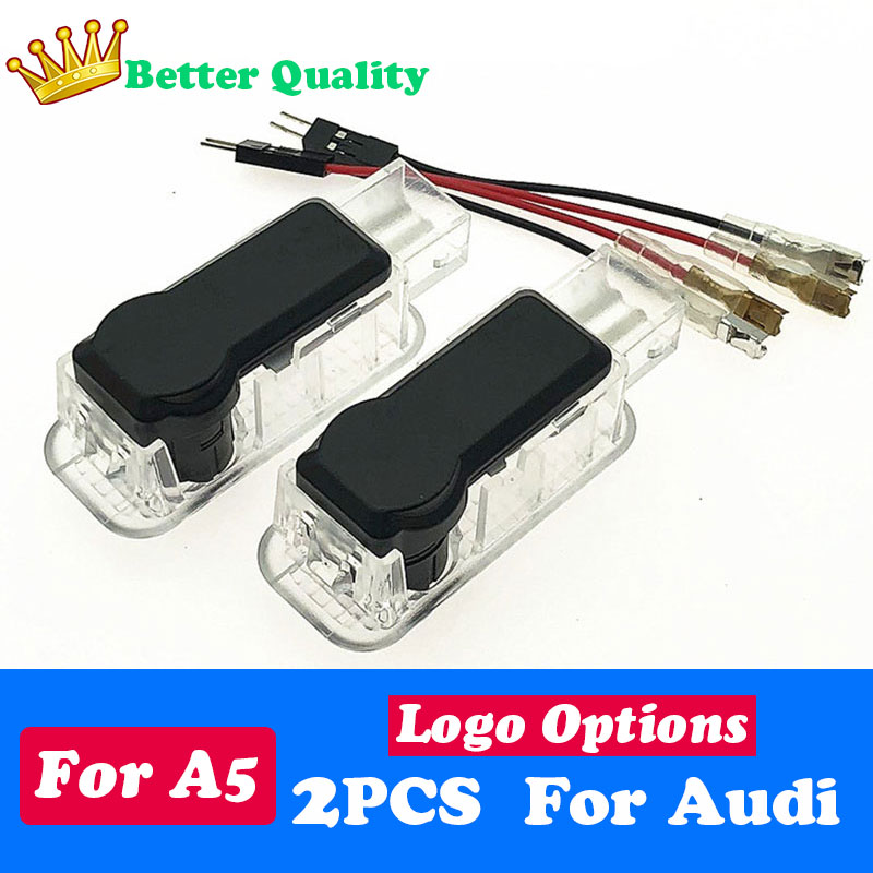 2PCS Car LED Door Light welcome Logo Projector Fits For Audi Quattro RS S LINE