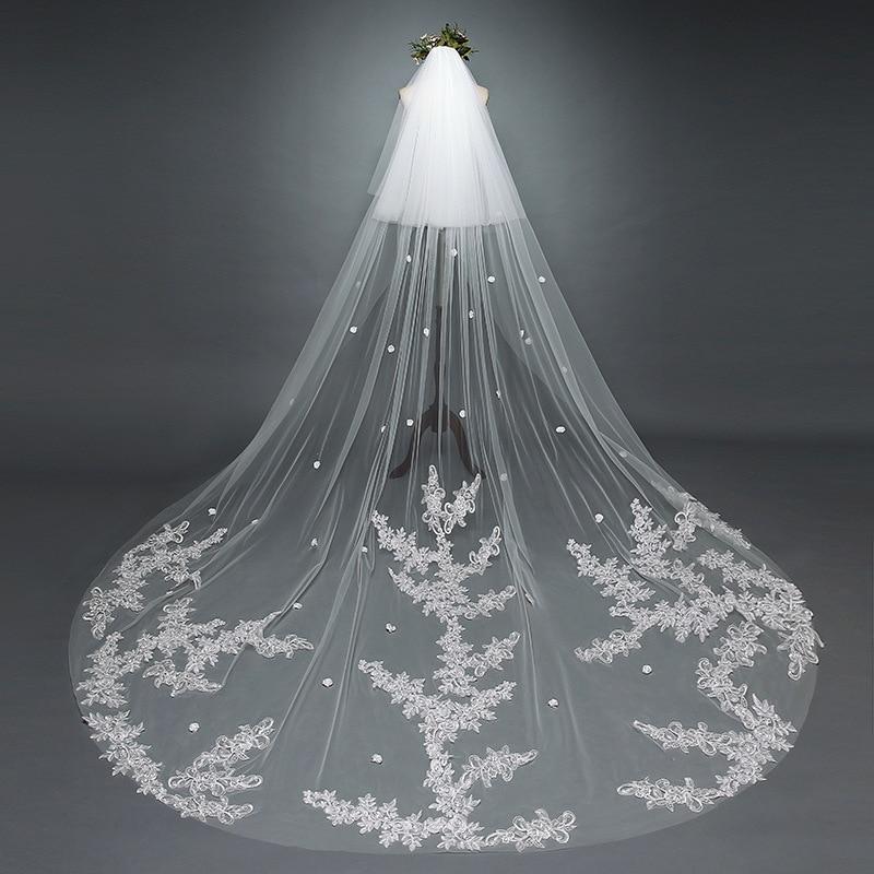 3 M voile de mariage cathédrale une couche dentelle appliqué longs voiles de mariée avec peigne femme marier cadeaux accessoires de mariée