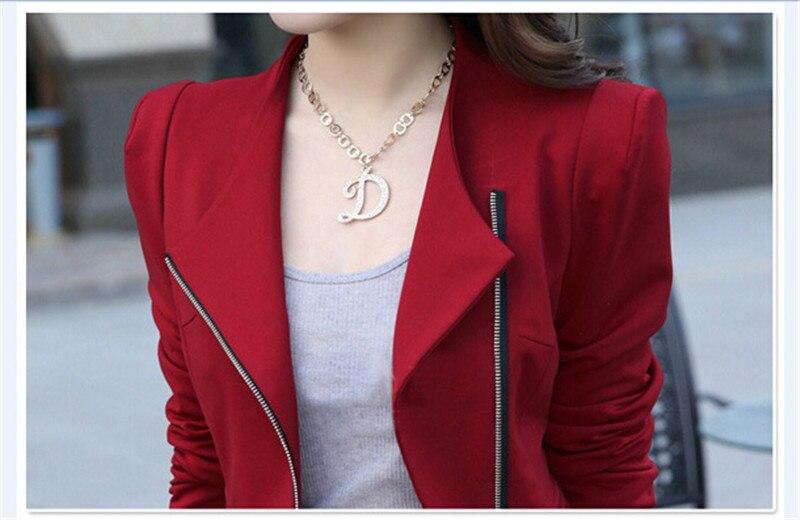 f9d47fab9f852 Mode Asymétrique Zipper Femmes Blazer 2017 Élégant Jaune Veste Manteau  Rouge Bureau Femme Costume Noir Outwear Dames D'hiver Blaser dans Blazers  de Mode ...