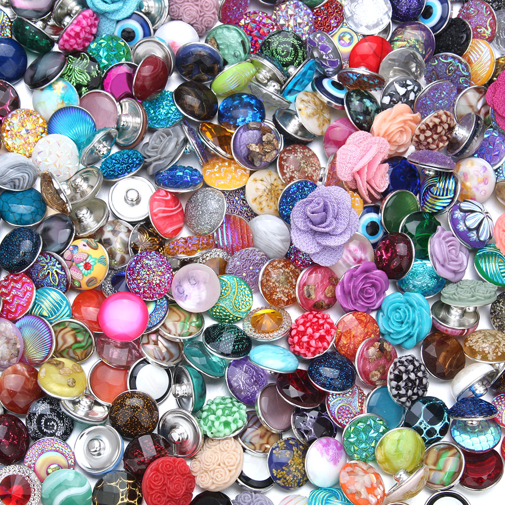 10pcs/lot 18mm Resin Snaps Mixed Buttons Snap For Leather bracelets watches women DIY charm bracelet jewelry ZD000