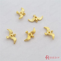 (29353)50PCS 17*10MM Gold Color Plated Zinc Alloy Bird beads Diy Jewelry Findings Jewelry Accessories wholesale