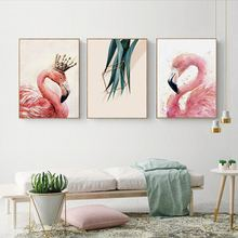 Modern Minimalistic Animal Flamingo With Leaves Canvas Art Abstract Painting Print Picture Wall Poster Office Home Decor A2 A3