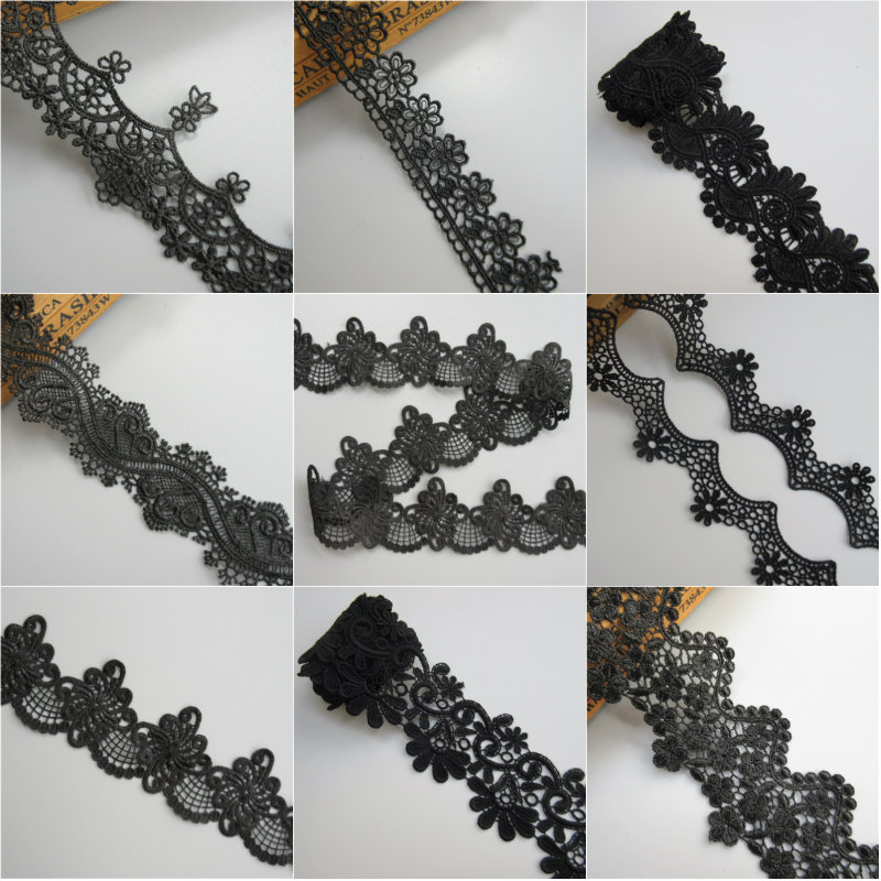 Soluble Black Polyester Lace Embroidery Trim Ribbon DIY Garment Hair Accessories Embroidered Lace Trim Fabric Sewing Craft