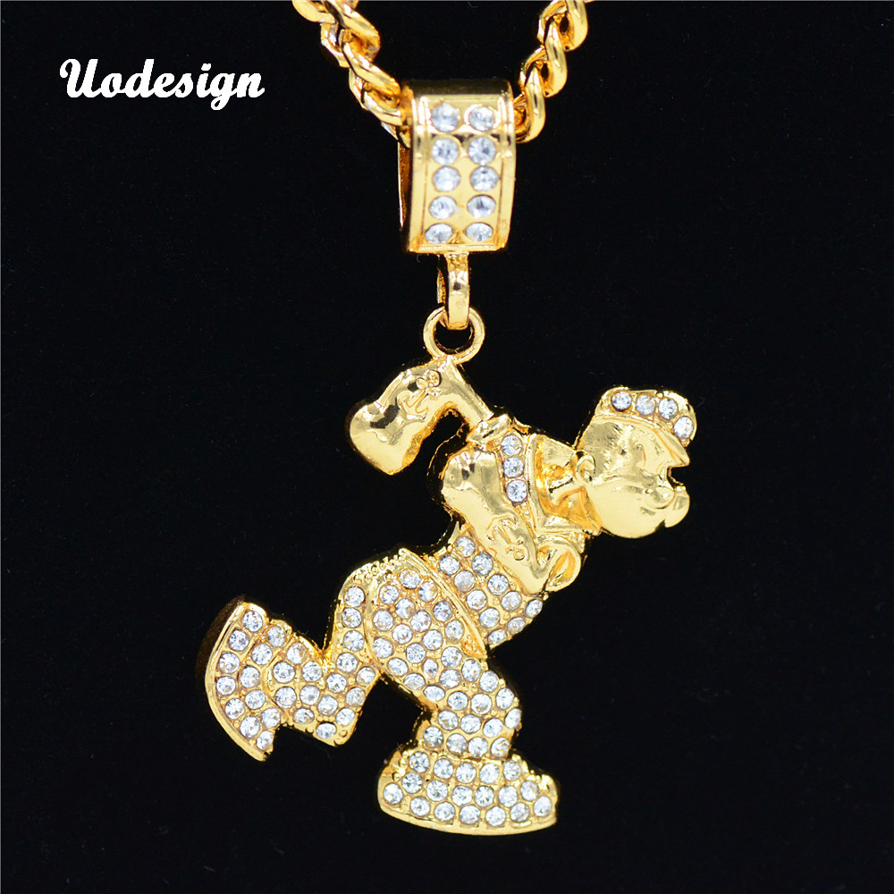 Uodesign Hip Hop  Crystal ailor Pendant Men Women Jewelry Gifts Iced out Gold Bling Rhinestone Crystal Pendants Necklace
