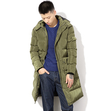 Men Winter Long Cotton Padded Thicken Hooded Parkas Jacket Male Fashion Casual Long Warm Hood Coat Outerwear Overcoat