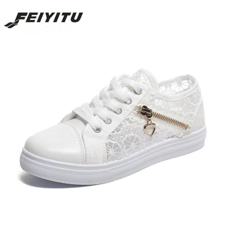 FeiYiTu Casual Cutouts Lace Canvas Shoes Summer Women Shoes Hollow Floral Breathable Platform Flat Shoes White Black Eu 35-40 Сникеры