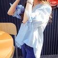 Women Blouses New Arrival Fashion 2017 Summer Korean V-neck Lantern Sleeve Ladies Striped Cotton Shirt Blue Tops Plus Size B587