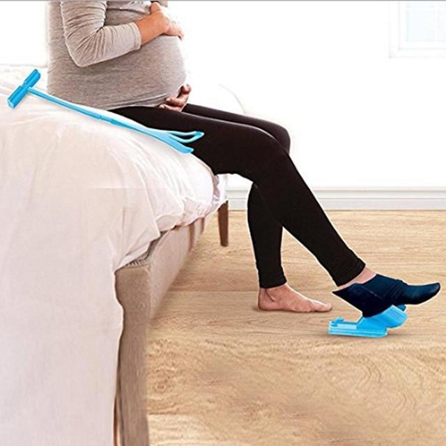 New 1 cái Vớ Màu Xanh Trượt Chăm Sóc Chân Viện Trợ Helper Kit Giúp Đặt Vớ On Off Không Uốn Giày Sừng cho Chăm Sóc Bàn Chân Công Cụ