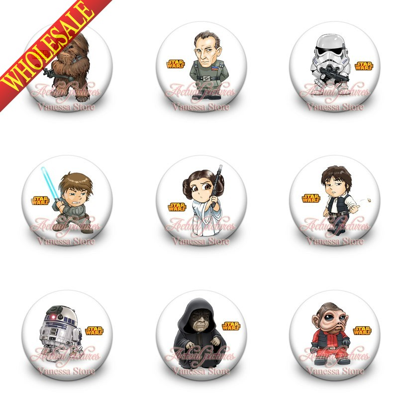 retail 9pcs star war 1 2 inches 30mm tin buttons pins. Black Bedroom Furniture Sets. Home Design Ideas
