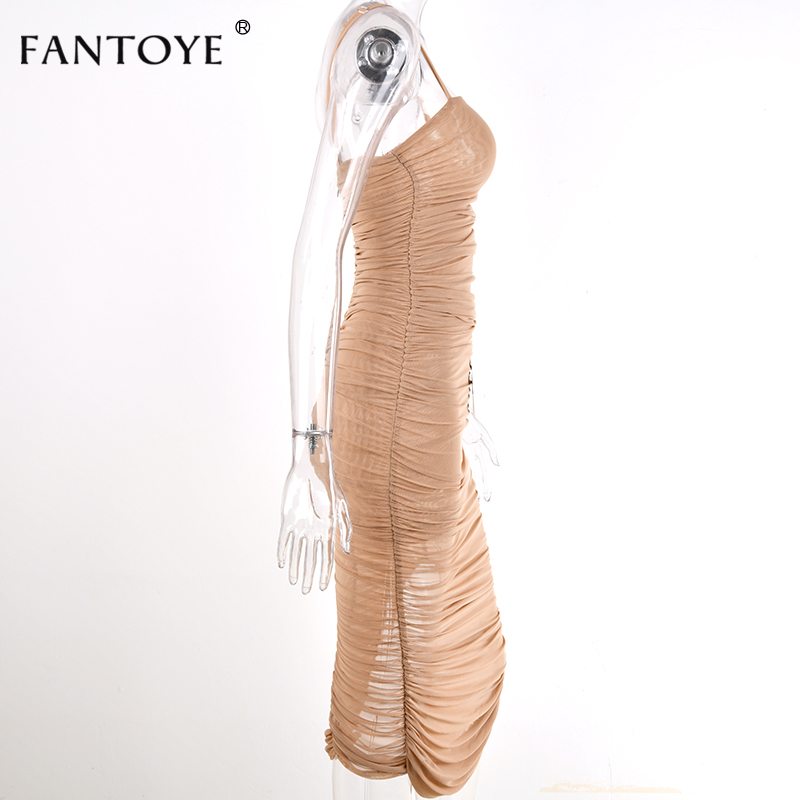 Fantoye Ruched Sheer Sexy Party Dress Women 18 Strapless Slit Long Maxi Dress Elgant Summer Autumn Bodycon Club Wear Vestidos 15